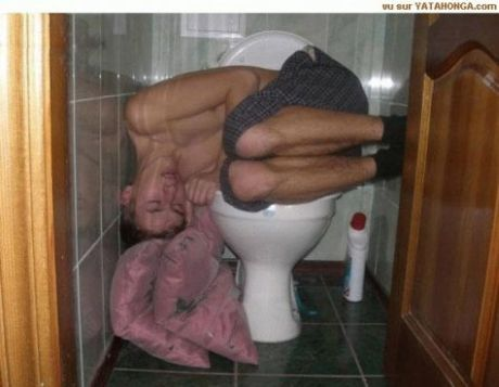 Funny Sleeping On Toilet