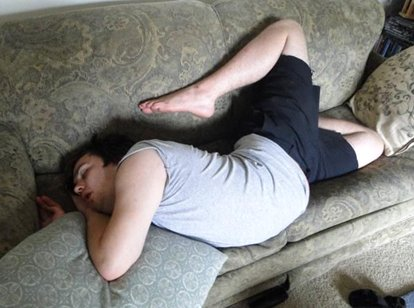 Funny Sleeping Position On Sofa
