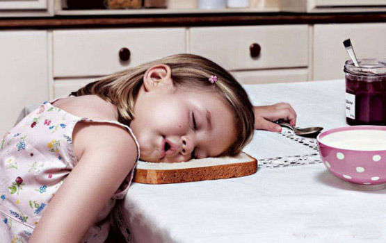 Girl Kid Sleeping On Bread Funny Awkward Position
