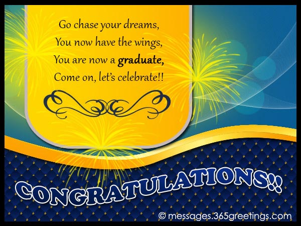 30 wonderful congratulations on graduation wishes pictures go chase your dreams you now have the wings you are now a graduate come m4hsunfo