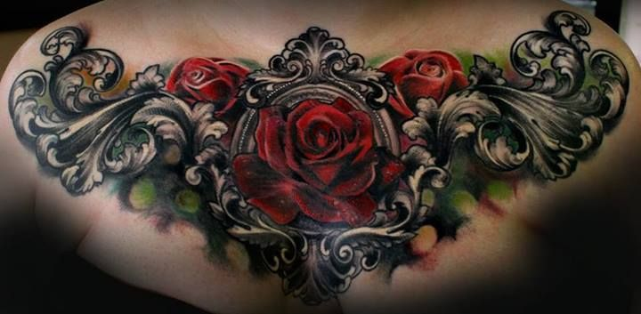 Gothic Rose Flowers Tattoo On Chest