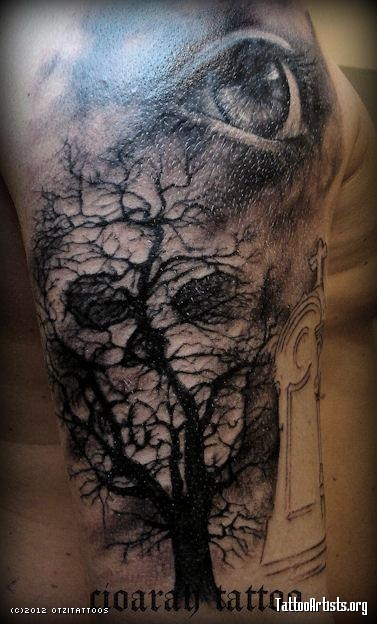 23 graveyard tattoo images pictures and designs gallery. Black Bedroom Furniture Sets. Home Design Ideas