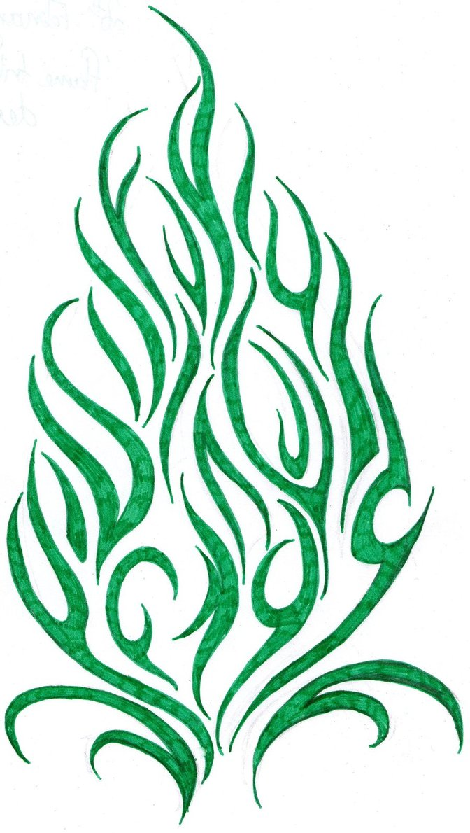Green Tribal Fire Tattoo Stencil By Luke