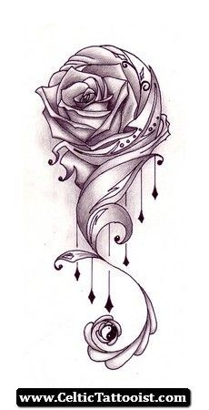 Black and grey celtic cross with banner tattoo design by for Celtic cross with roses tattoo designs