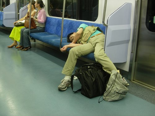 Guy Funny Sleeping In The Train