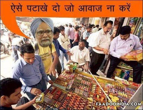 Indian Prime Minister Manmohan Singh Diwali Celebration With Noise Less Crackers