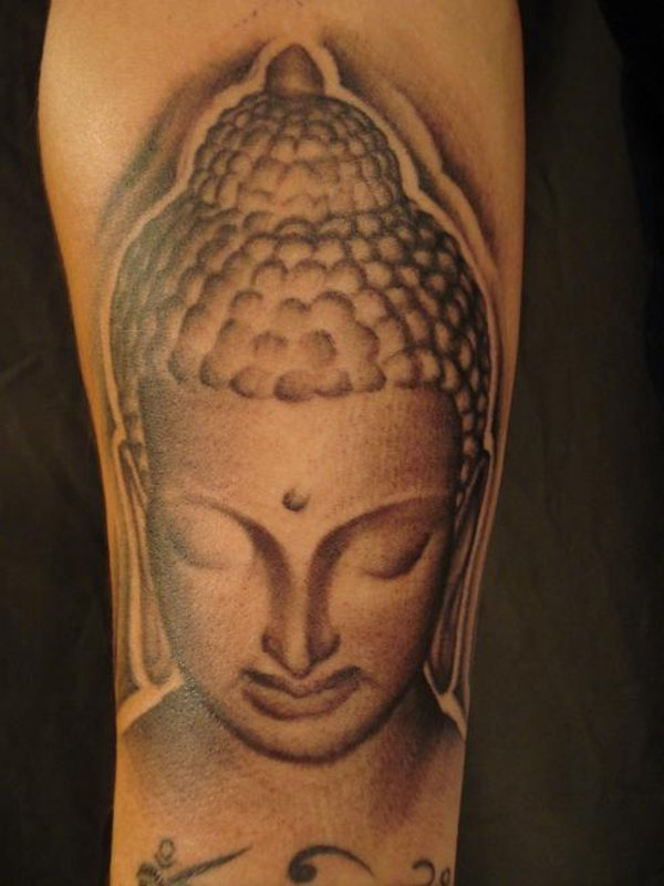 Lord Buddha Head Tattoo On Arm