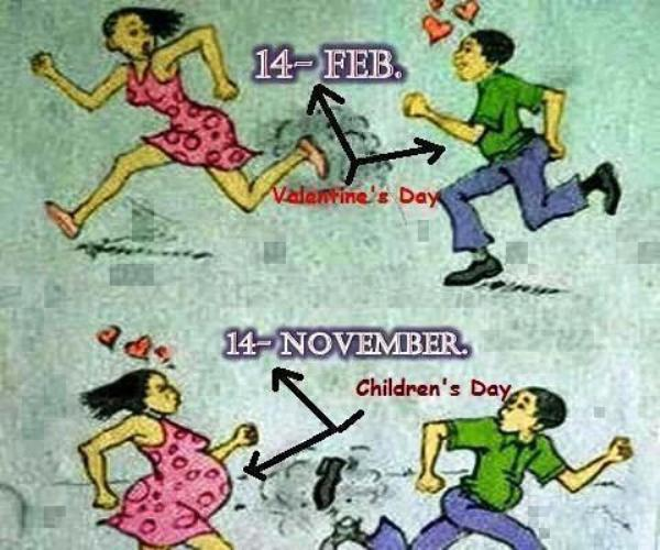 Perfect 9 Month Difference Between 14 Feb And 14 November Funny Valentine  Cartoon Picture
