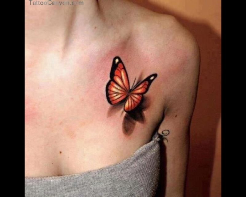 Realistic 3D Butterfly Tattoo On Girl Front Shoulder