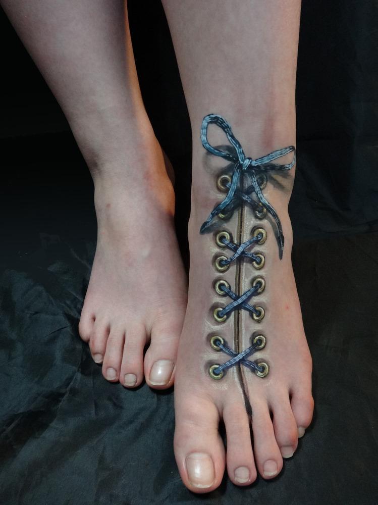Realistic 3D Corset Tattoo On Foot