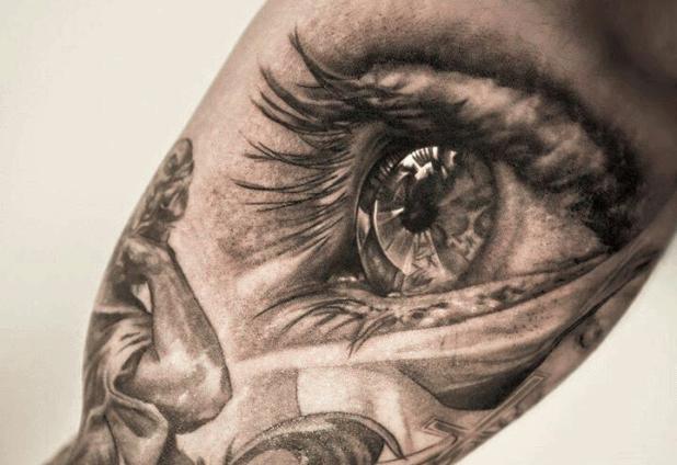 Realistic 3D Eye Tattoo On Bicep