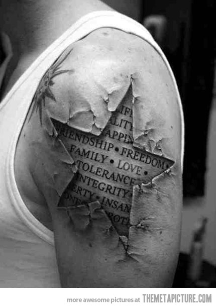 Realistic 3D Ripped Skin Star Tattoo On Man Shoulder