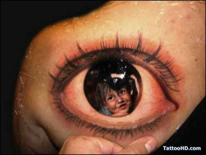 Realistic Cute Boy Face In Eye Tattoo On Back Shoulder
