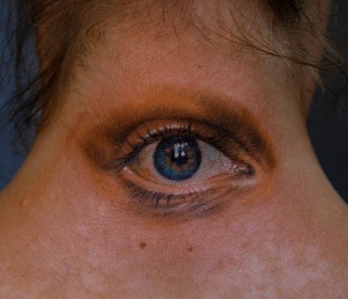 Realistic Eye Tattoo On Back Neck