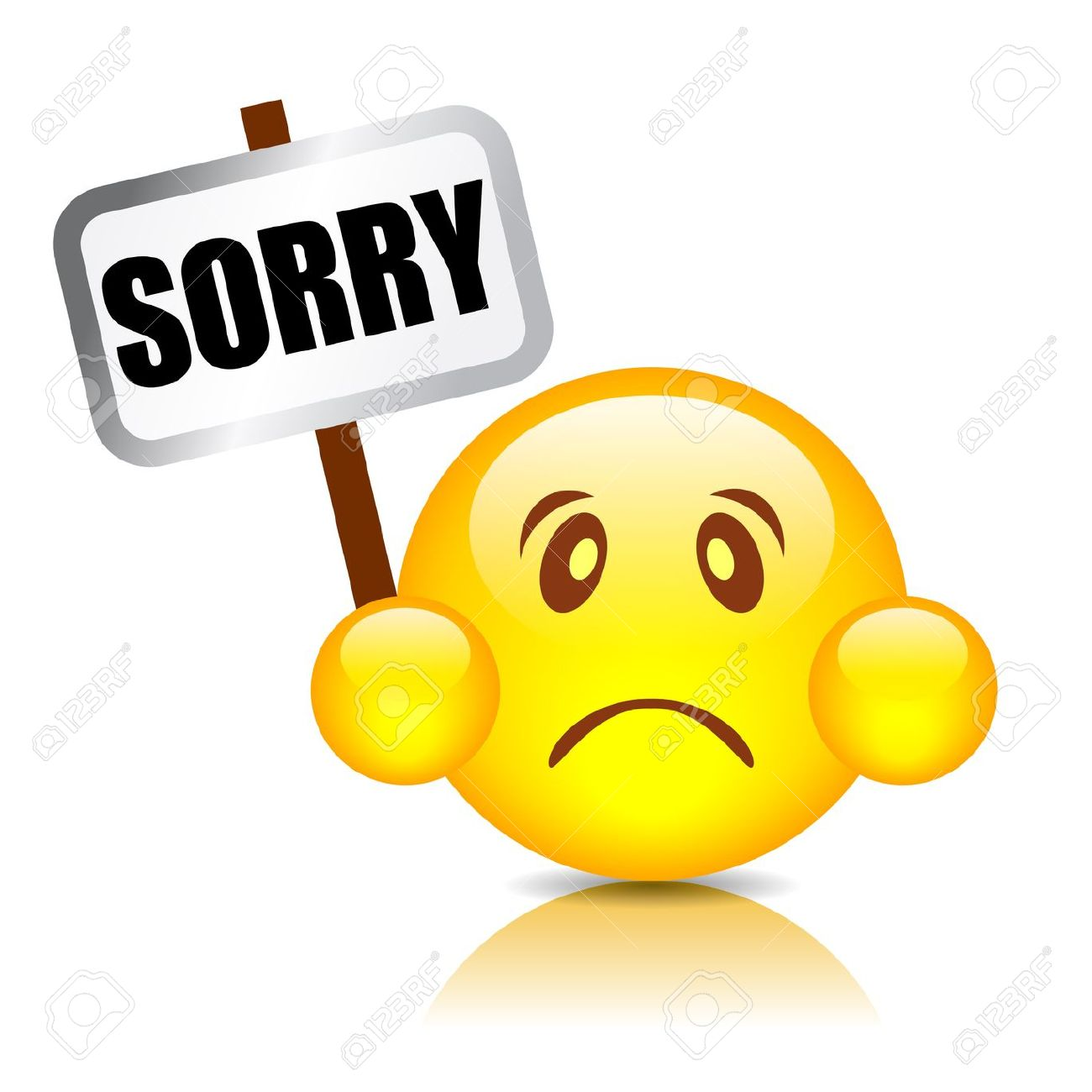 Sad Emoticon With Sorry Board