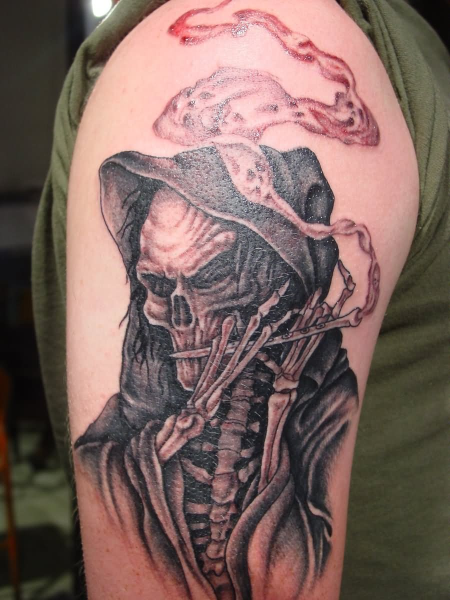 colorful grim reaper tattoo on man full back. Black Bedroom Furniture Sets. Home Design Ideas