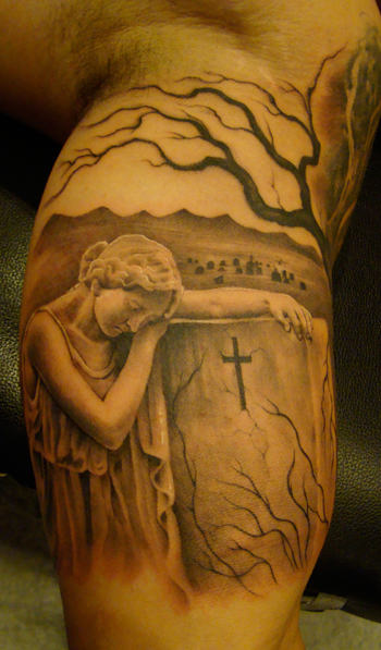 virgin mary with graveyard tattoos on inner bicep. Black Bedroom Furniture Sets. Home Design Ideas