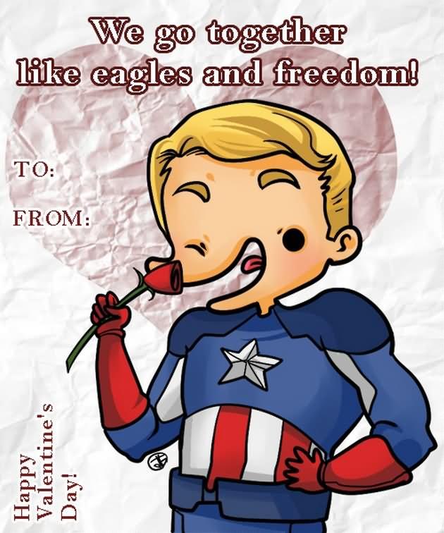 We Go Together Like Eagles And Freedom Funny Valentine Cartoon