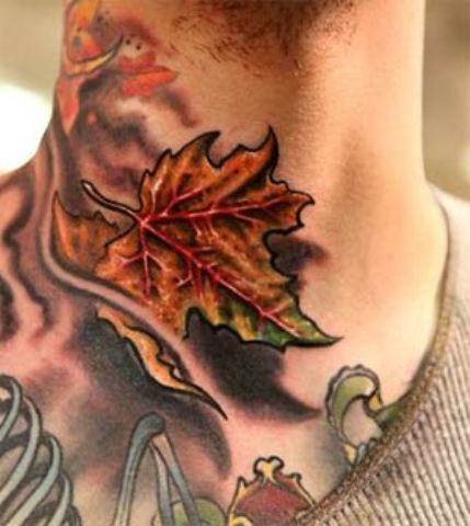 Awesome Maple Leaf Tattoo On Man Neck
