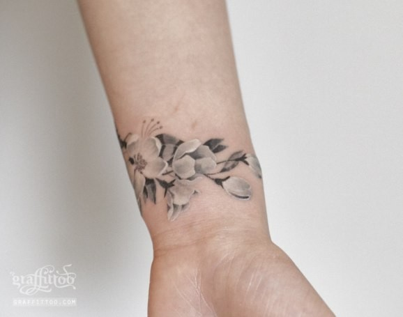Cherry Blossom Wrist Tattoo Designs: Black And Grey Cherry Blossom Flowers Tattoo On Wrist By