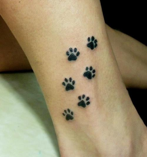 Dog Paw Print Tattoos On Foot: 27+ Cute Paw Tattoos Images