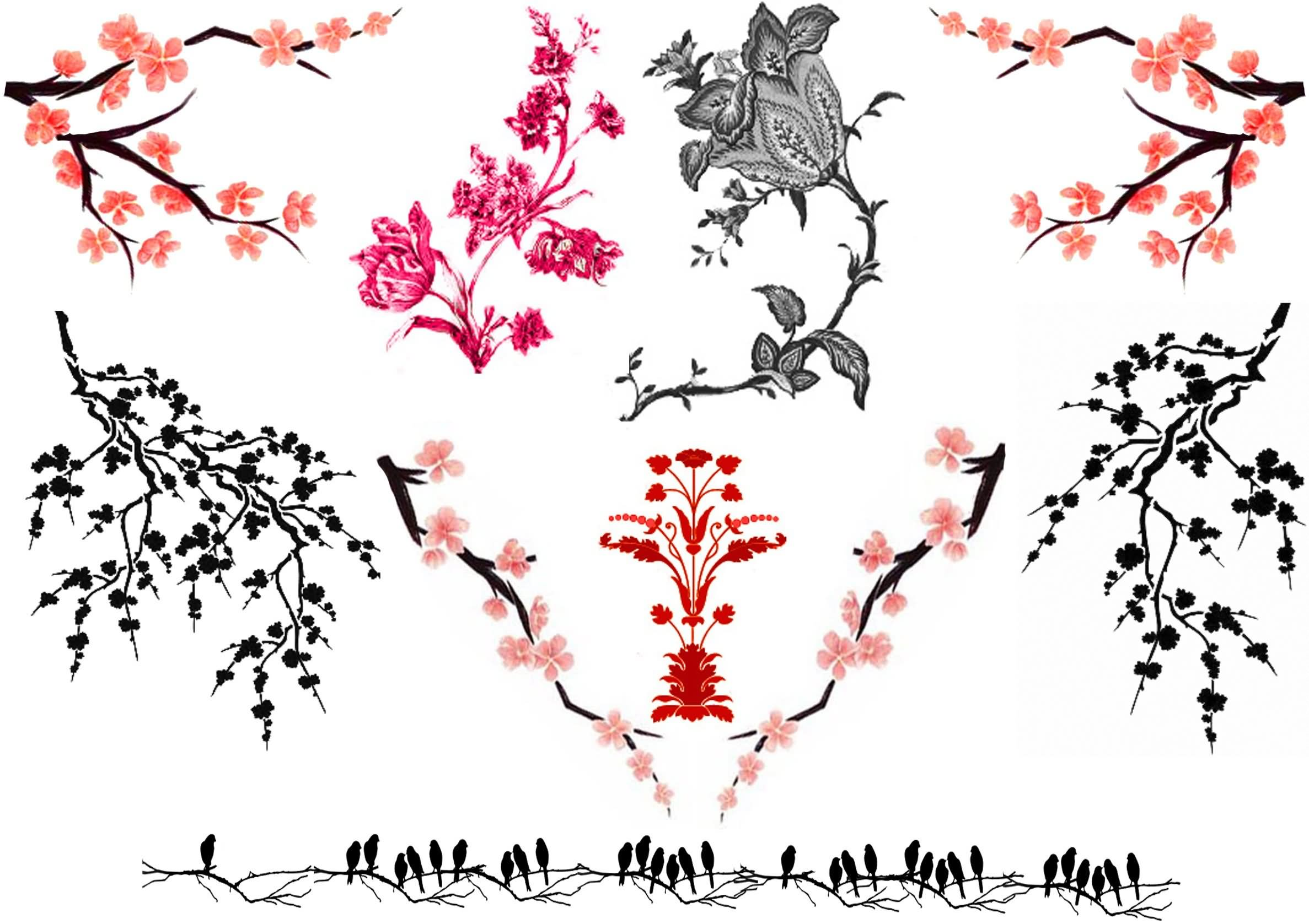 5 new cherry blossom tattoo designs. Black Bedroom Furniture Sets. Home Design Ideas