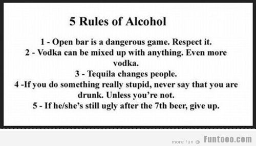 Funny Five Rules Of Alcohol