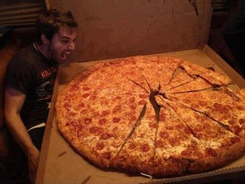 Man Eat Giant Pizza Funny Image