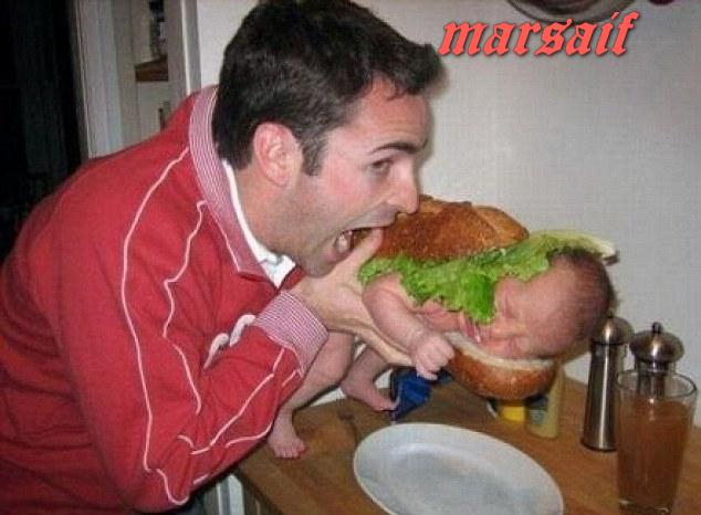 Man Eating Baby Burger Funny Picture