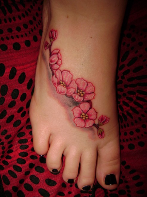 pink cherry blossom flowers tattoo on girl foot. Black Bedroom Furniture Sets. Home Design Ideas