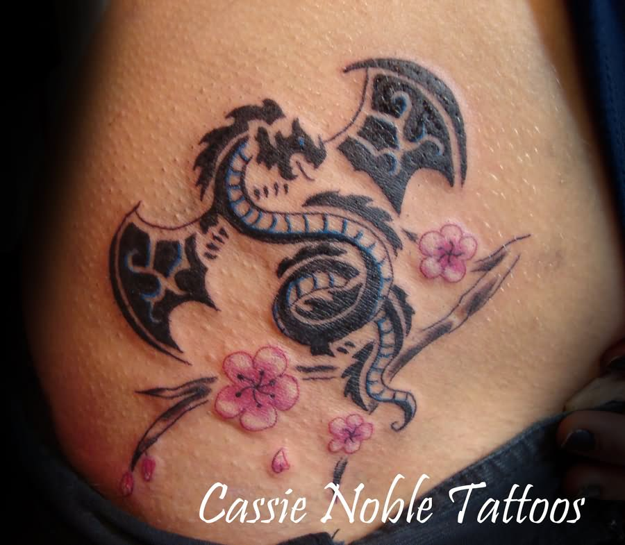 Pink Cherry Blossom Flowers With Black Dragon Tattoo Design By
