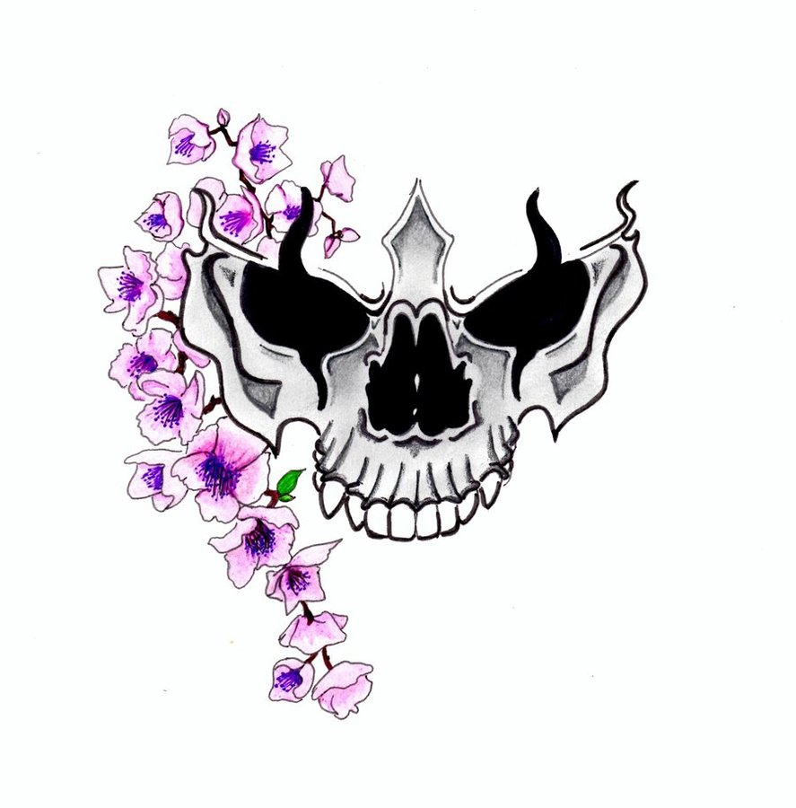 Purple Cherry Blossom Skull Tattoo Design David