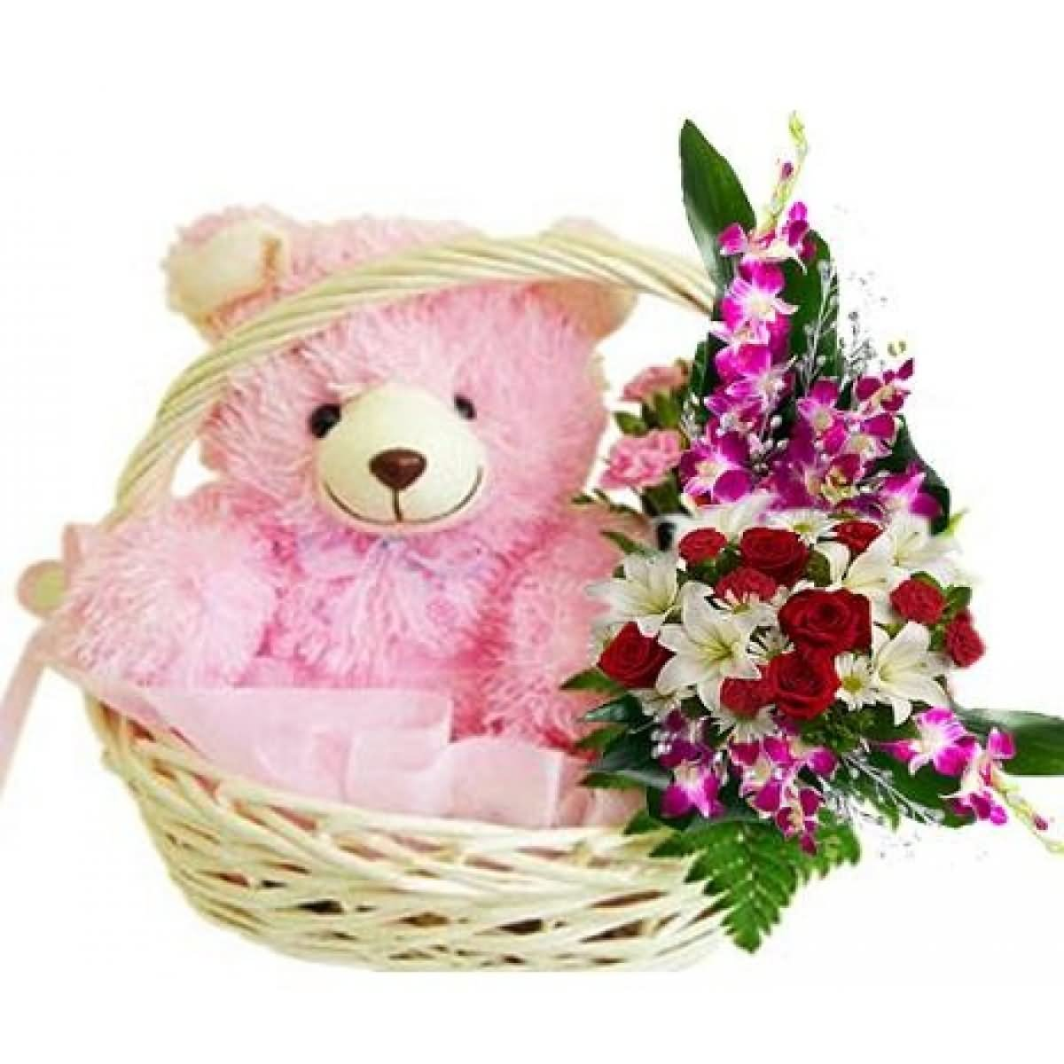 Teddy bear with pink roses - photo#47