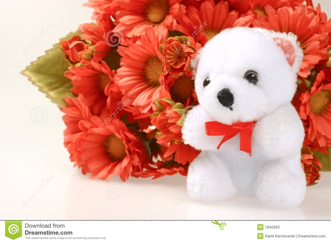 Teddy bear with pink roses - photo#37