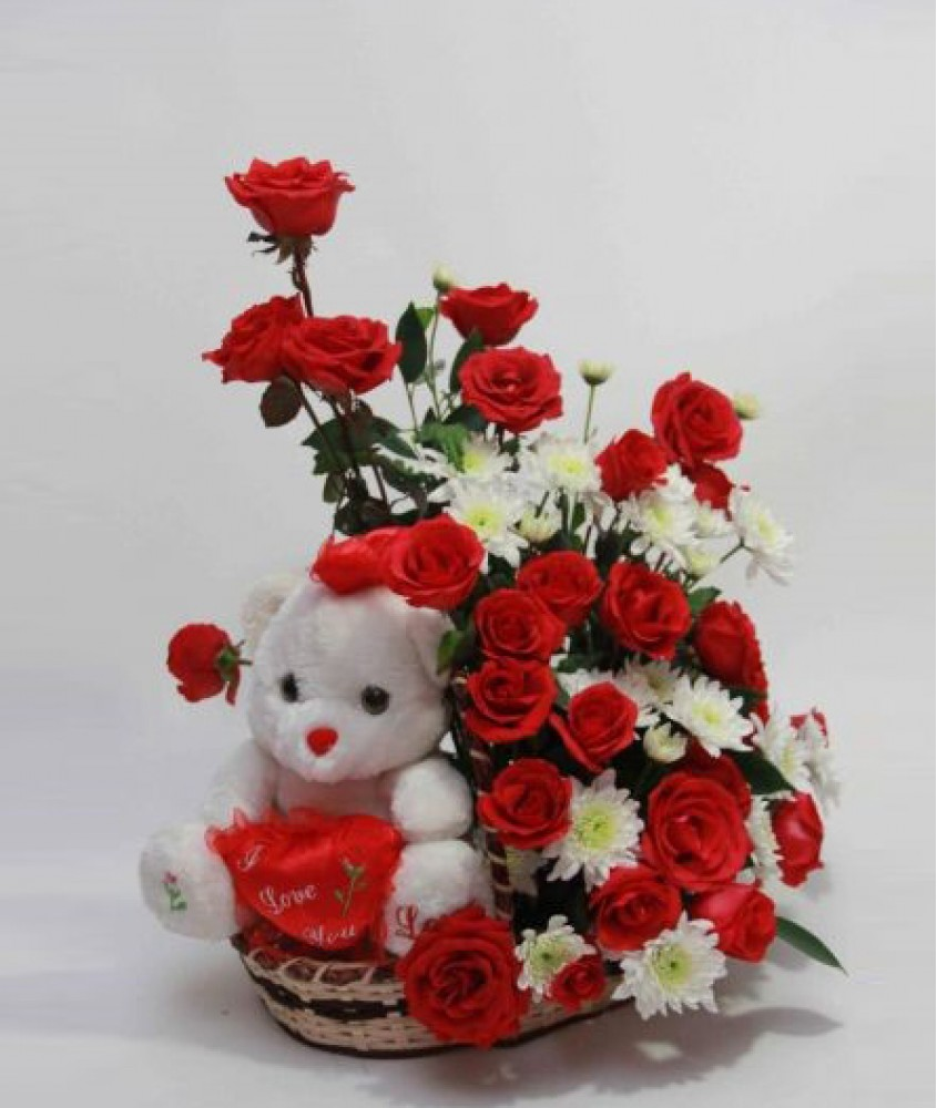 22 best teddy bear with flowers picture teddy bear with rose flowers picture izmirmasajfo Image collections