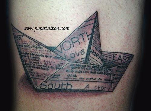 3D News Paper Boat Tattoo Design For Hand