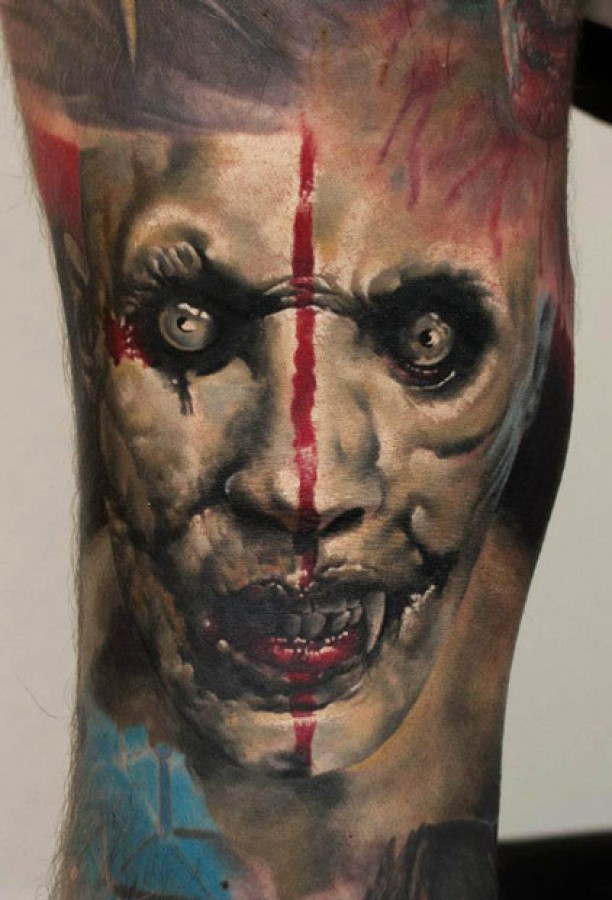 3d scary face tattoo design by denis sivak. Black Bedroom Furniture Sets. Home Design Ideas