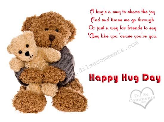 A Hug's A Way To Share The Joy Happy Hug Day