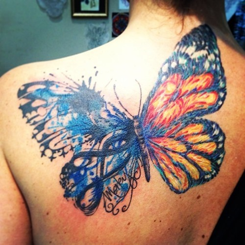 Amazing Watercolor Butterfly Tattoo On Upper Back