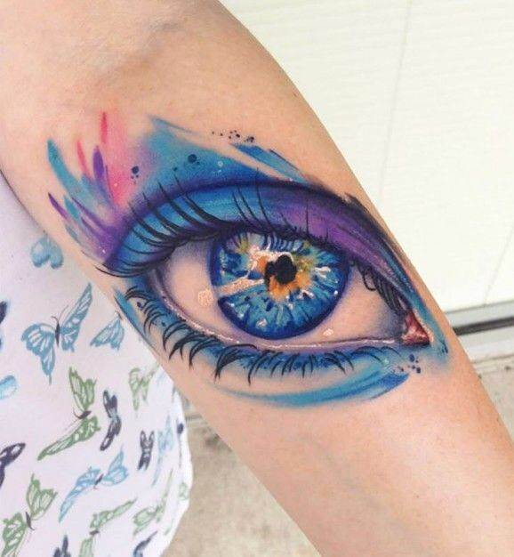 Amazing Watercolor Eye Tattoo On Forearm