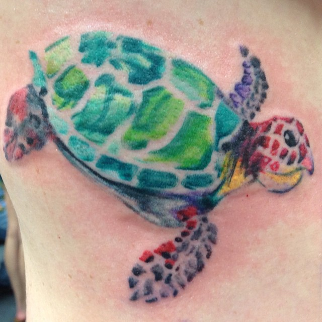 Amazing Watercolor Turtle Tattoo Design