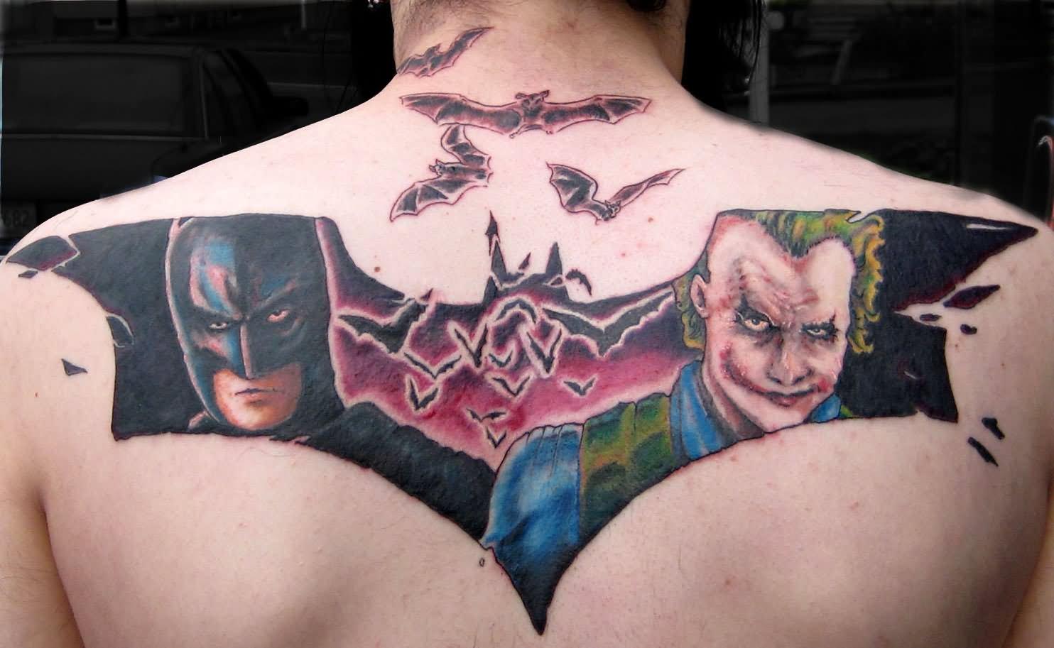 Tattoo designs on the back - Batman And Joker Face Tattoo On Upper Back