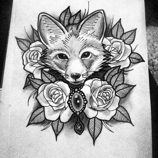 7 spider tattoo samples and designs black and grey cute fox head with roses tattoo design maxwellsz