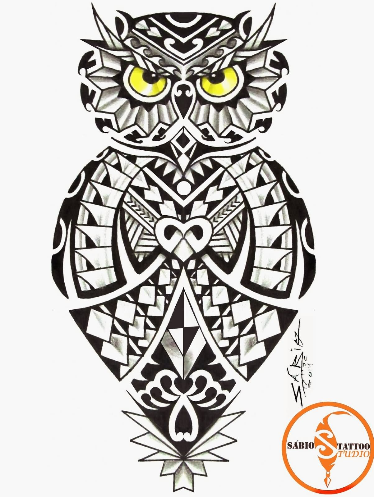 Black And Grey Maori Owl Tattoo Design