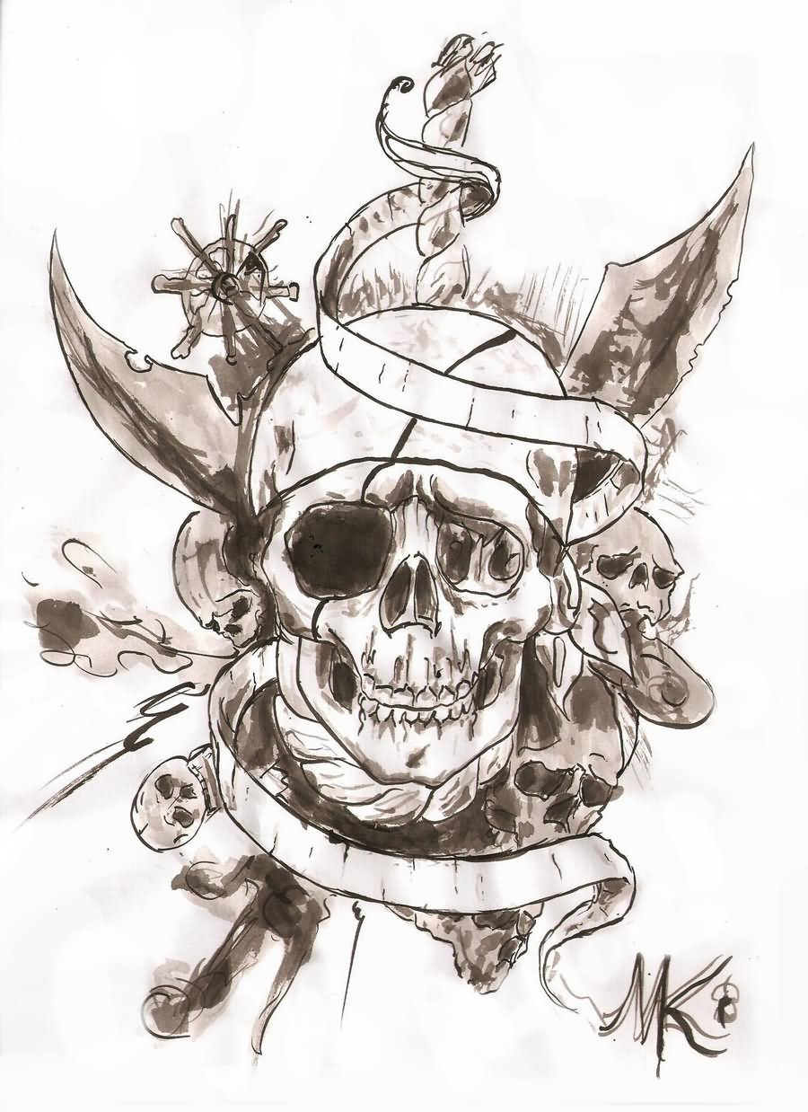 Black And Grey Skull On Bow Tattoo Design By Pianosarana
