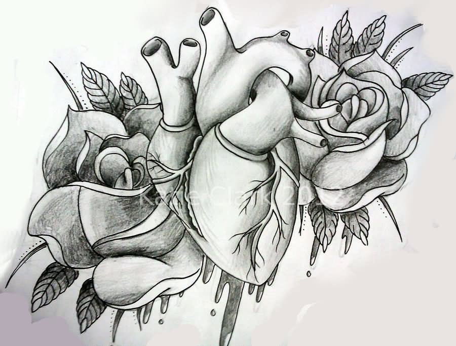 1f25edef79f70 Black And Grey Real Heart With Two Roses Tattoo Design By Katie Matie