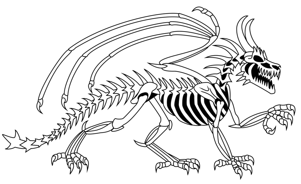 Black Dragon Skeleton Tattoo Stencil By Sierra