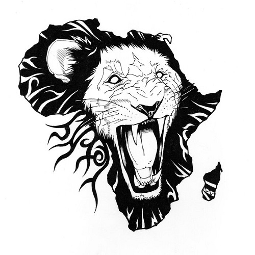 Black Lion In African Map Tattoo Design