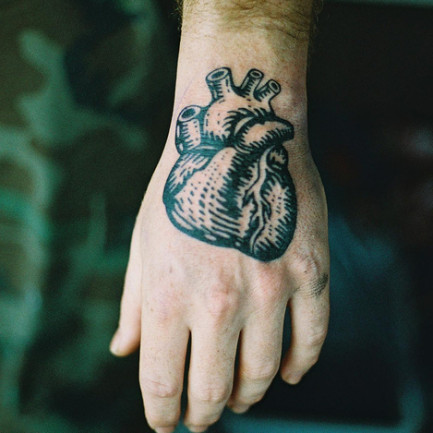 Black Real Heart Tattoo On Hand