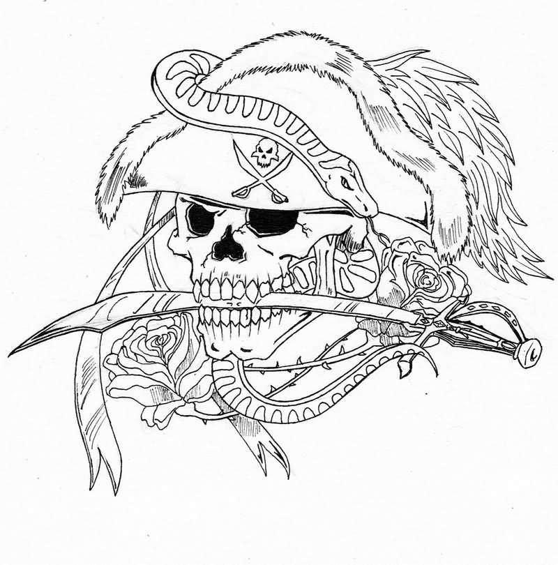 Black Sword In Pirate Skull Mouth Tattoo Stencil By Duckriff